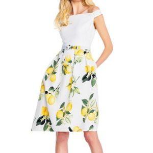 Adrianna Papell Lemon offshoulder dress w/pockets